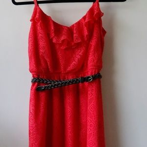 Pink/Red Lace Cover Dress w/ Brown belt